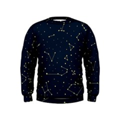 Star Zodiak Space Circle Sky Line Light Blue Yellow Kids  Sweatshirt by Mariart