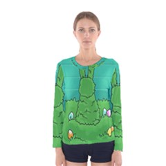 Rabbit Easter Green Blue Egg Women s Long Sleeve Tee by Mariart