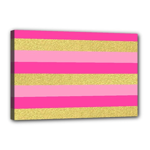 Pink Line Gold Red Horizontal Canvas 18  X 12  by Mariart