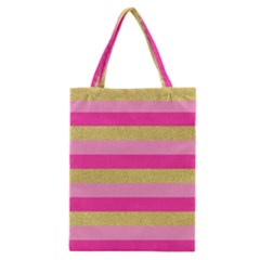 Pink Line Gold Red Horizontal Classic Tote Bag by Mariart