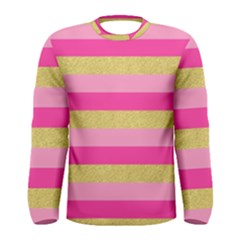 Pink Line Gold Red Horizontal Men s Long Sleeve Tee