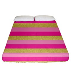 Pink Line Gold Red Horizontal Fitted Sheet (california King Size) by Mariart
