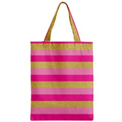Pink Line Gold Red Horizontal Zipper Classic Tote Bag by Mariart