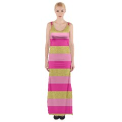 Pink Line Gold Red Horizontal Maxi Thigh Split Dress by Mariart