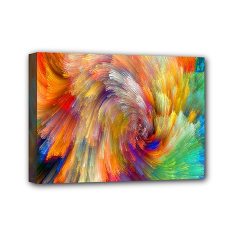 Rainbow Color Splash Mini Canvas 7  X 5  by Mariart