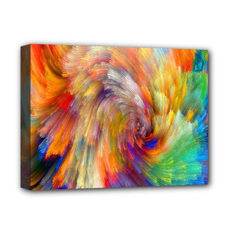 Rainbow Color Splash Deluxe Canvas 16  X 12   by Mariart