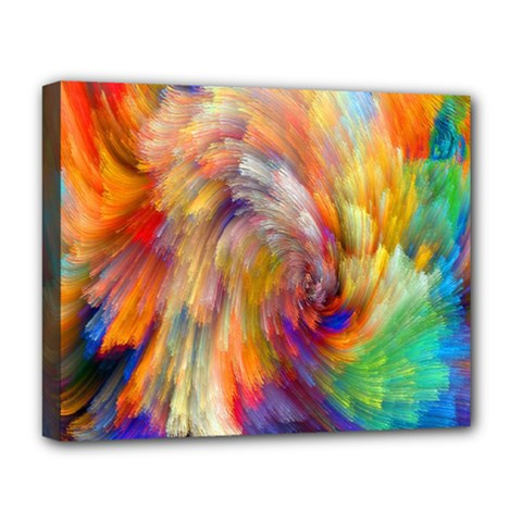Rainbow Color Splash Deluxe Canvas 20  X 16   by Mariart