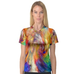 Rainbow Color Splash Women s V Neck Sport Mesh Tee by Mariart