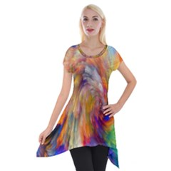Rainbow Color Splash Short Sleeve Side Drop Tunic by Mariart