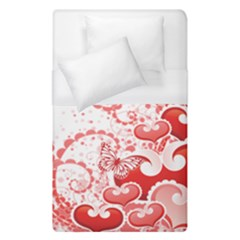 Love Heart Butterfly Pink Leaf Flower Duvet Cover (single Size) by Mariart