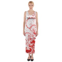 Love Heart Butterfly Pink Leaf Flower Fitted Maxi Dress