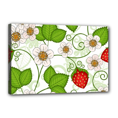 Strawberry Fruit Leaf Flower Floral Star Green Red White Canvas 18  X 12  by Mariart