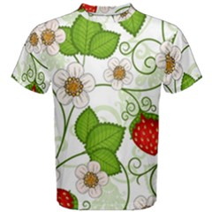 Strawberry Fruit Leaf Flower Floral Star Green Red White Men s Cotton Tee by Mariart