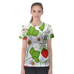 Strawberry Fruit Leaf Flower Floral Star Green Red White Women s Sport Mesh Tee by Mariart