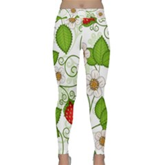 Strawberry Fruit Leaf Flower Floral Star Green Red White Classic Yoga Leggings by Mariart
