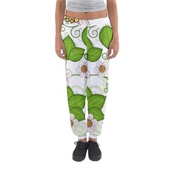 Strawberry Fruit Leaf Flower Floral Star Green Red White Women s Jogger Sweatpants by Mariart