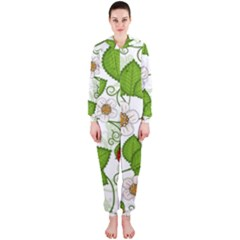 Strawberry Fruit Leaf Flower Floral Star Green Red White Hooded Jumpsuit (ladies)  by Mariart