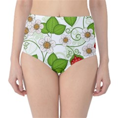 Strawberry Fruit Leaf Flower Floral Star Green Red White High Waist Bikini Bottoms
