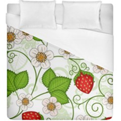 Strawberry Fruit Leaf Flower Floral Star Green Red White Duvet Cover (king Size) by Mariart
