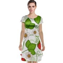 Strawberry Fruit Leaf Flower Floral Star Green Red White Cap Sleeve Nightdress by Mariart