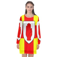 Flag Of The Province Of Ulster  Long Sleeve Chiffon Shift Dress