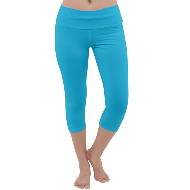 Neon Color - Brilliant Arctic Blue Capri Yoga Leggings