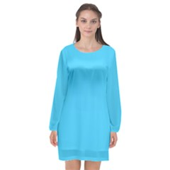 Neon Color   Brilliant Cerulean Long Sleeve Chiffon Shift Dress  by tarastyle