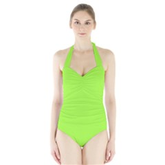 Neon Color   Brilliant Charteuse Green Halter Swimsuit by tarastyle