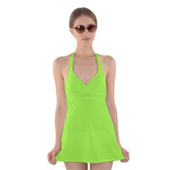 Neon Color   Brilliant Charteuse Green Halter Swimsuit Dress by tarastyle