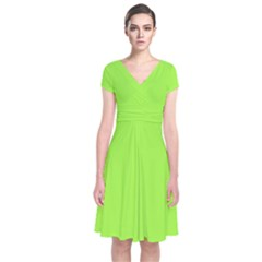 Neon Color   Brilliant Charteuse Green Short Sleeve Front Wrap Dress by tarastyle