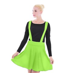 Neon Color   Brilliant Charteuse Green Suspender Skater Skirt by tarastyle
