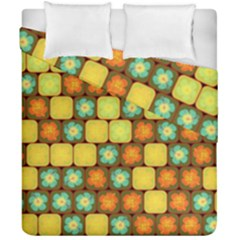 Random Hibiscus Pattern Duvet Cover Double Side (california King Size) by linceazul