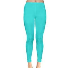 Neon Color   Brilliant Cyan Leggings  by tarastyle