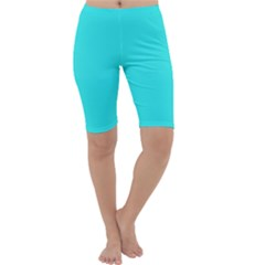 Neon Color   Brilliant Cyan Cropped Leggings  by tarastyle
