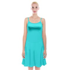 Neon Color   Brilliant Cyan Spaghetti Strap Velvet Dress by tarastyle