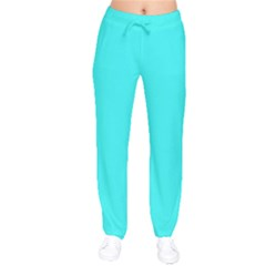 Neon Color   Brilliant Cyan Drawstring Pants by tarastyle