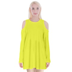 Neon Color   Brilliant Yellow Velvet Long Sleeve Shoulder Cutout Dress by tarastyle