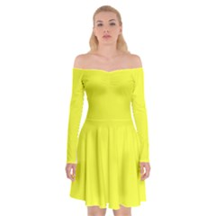 Neon Color   Brilliant Yellow Off Shoulder Skater Dress by tarastyle