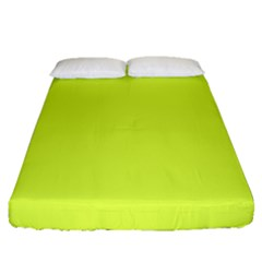 Neon Color   Light Brilliant Apple Green Fitted Sheet (queen Size) by tarastyle