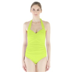 Neon Color   Light Brilliant Apple Green Halter Swimsuit by tarastyle