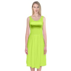 Neon Color   Light Brilliant Lime Green Midi Sleeveless Dress by tarastyle