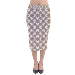Stylized Leaves Floral Collage Velvet Midi Pencil Skirt by dflcprintsclothing