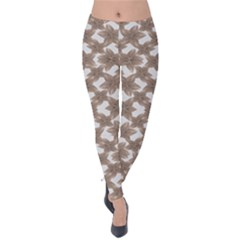 Stylized Leaves Floral Collage Velvet Leggings by dflcprintsclothing