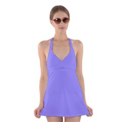 Neon Color   Light Persian Blue Halter Swimsuit Dress by tarastyle