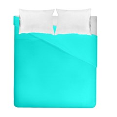 Neon Color   Luminous Vivid Cyan Duvet Cover Double Side (full/ Double Size) by tarastyle