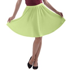 Neon Color   Pale Lime Green A Line Skater Skirt
