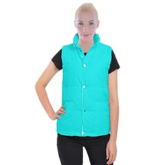 Neon Color   Vivid Cyan Women s Button Up Puffer Vest by tarastyle