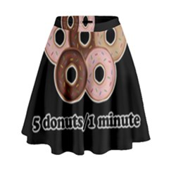 Five Donuts In One Minute  High Waist Skirt by Valentinaart