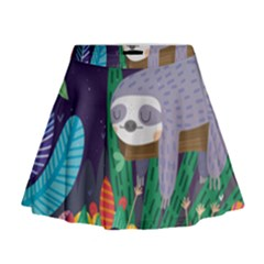 Sloth In Nature Mini Flare Skirt