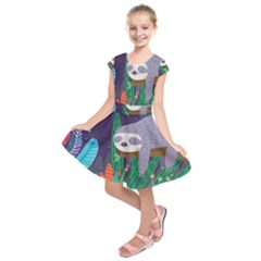 Sloth In Nature Kids  Short Sleeve Dress